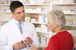 customer asking about the product to a pharmacist